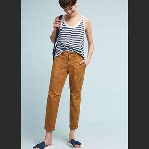 Anthropologie Wanderer Utility Pants 27 Gold Brown